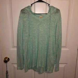 Mint Long Sleeve Hooded Pullover Shirt